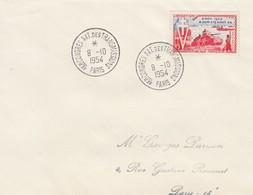 FRANCE - LETTRE CACHET COMMÉMORATIF 1er CONGRES  DES TRANSMISSIONS PARIS 8.10.1954  - Yv N°983 /1 - Commemorative Postmarks