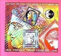 BLOC CNEP N° 28 - 52° SALON PHILATELIQUE D'AUTOMNE 98 - 1849 PREMIER TIMBRE FRANCAIS 1999 - CNEP