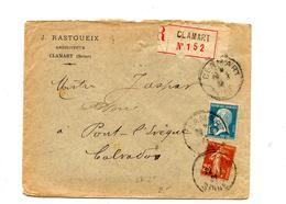 Lettre Recommandee  Clamart Sur Pasteur Semeuse - Marcophilie (Lettres)