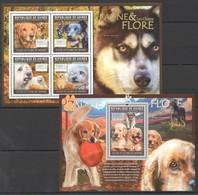 BC157 2011 GUINEE GUINEA FAUNE & FLORE FAUNA PETS DOGS LES CHIENS 1KB+1BL MNH - Perros