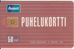 FINLAND - Public Card(Avant Info 0800-9-28268), AVANT Card 50 Mk, CN : 1095(065120-070870), Tirage %5000, 08/95, Used - Finland