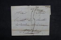 """FRANCE - Marque Postale """" 89 Avignon """" Sur Lettre Pour Bordeaux En 1794 - L 34162 - Marcophilie (Lettres)"""
