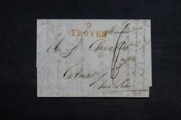 """FRANCE - Marque Postale """" 9 Troyes """" En Rouge Sur Lettre Pour Colmar En 1818 - L 34163 - Storia Postale"""