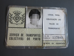 Porto Transport Card For Child - Abonos