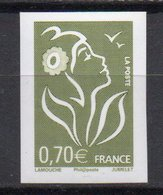 - FRANCE Y&T 3967a (S&M 3960e) ** - 0,70 € Vert-olive Marianne De Lamouche 2006 - NON DENTELÉ - Cote 50 EUR - - France
