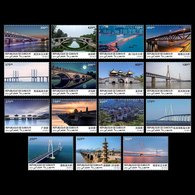 Djibouti 2019 Wuhan World Stamp Expo Famous Chinese Bridges Architecture Set Of 15 Stamps - Djibouti (1977-...)