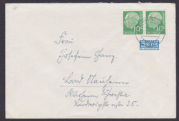 Theodor Heuss 10 Pfg. Waaegerechtes Paar MiNr. 183 Limburg Mit NO-Marke Portogenau - Cartas