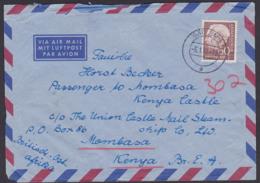 Theodor Heuss 60 Pfg.  MiNr. 190, Auslands-Lp-Brief Mombasa Kenia Aus Bad Ems 5.1.59 - Brieven En Documenten