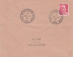 FRANCE - LETTRE CACHET COMMÉMORATIF U.N.I. CINQUANTENAIRE MORT PASTEUR  PARIS  30.11.1946 -  GANDON 3f /1 - Commemorative Postmarks