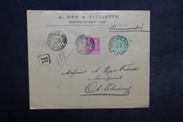 FRANCE - Enveloppe Commerciale En Recommandé De Fere En Tardenois Pour Château Thierry En 1899 , Affr. Sages - L 34173 - Marcophilie (Lettres)