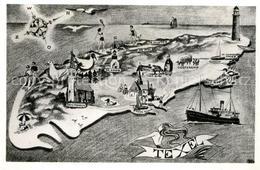 43500956 Texel Insel Mit Sehenswuerdigkeiten Kompass Kuenstlerkarte Texel - Pays-Bas