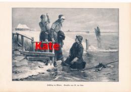 1004 M. Ten Kate Küstenbild Eisläufer Eislauf Kunstblatt 1894 !! - Estampes