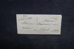 """FRANCE - Cursive """" 24 Le Valdahon """" Sur Lettre Pour Vercel , Cachet CD En Rouge - L 34180 - 1801-1848: Précurseurs XIX"""