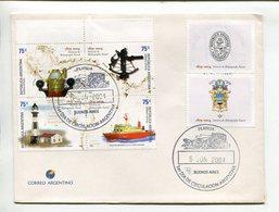 ARGENTINA - SERVICIO DE HIDROGRAFICA NAVAL, NAVAL HYDROGRAPHY. YEAR 2004 ENVELOPE FDC SE-TENANT WITH VIGNETTE - LILHU - Faros