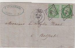 """FRANCE : N° 12 . MIXTE AVEC N° 20 . OBL . PC DU GC 420 . DE """" BELFORT PORT LOCAL """" . TB . SIGNE CALVES . 1871 . - Marcophilie (Lettres)"""