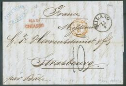 LAC De MILANO 13/4 1857 + Griffe VIA DI CHIASSO Vers Strasbourg (FR)., Man. 'par Bâle'. - 14311 - Lombardo-Vénétie