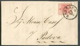 15 Cent. Vermillon, TB Margé, Obl. Sc BASANO 27/7 1854 Vers Padova.  Belle Fraîcheur. - 14312 - Lombardo-Vénétie