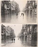 2 CARTE PHOTO:REIMS (51) ENFANTS DANS EAU RUE DE VESLE INNONDÉE AOÛT 1944 - Reims