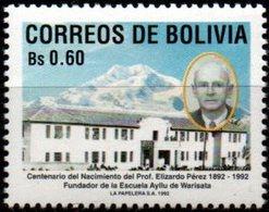 Bolivia 1992 CEFIBOL 1429  Centenario Del Prof. Elizardo Pérez. Escuela De Warisata. - Bolivia