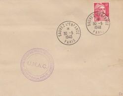 FRANCE - LETTRE  CACHET COMMÉMORATIF SAUVEZ L'ENFANCE U.N.A.C. PARIS 30.5.1948 -  Yv N°721 SEUL  /2 - Commemorative Postmarks