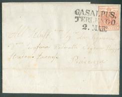 15 Cent. Vermillon, Margé, Obl. Griffe  CASALPUS. TERLENGO Sur Lettre Du 2 Mars 1855  Vers Piacenza.  Belle Fraîcheur. - - Lombardo-Vénétie