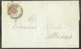 30 Cent. Brun, TB Margé, Obl. Dc MANTOVA Sur Lettre Du 1 Avril 1852  Vers Milano.  Belle Fraîcheur. - 14314 - Lombardo-Veneto