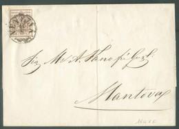 30 Cent. Brun, TB Margé, Obl. Sc VENEZIA 11/3 1855 Sur Lettre  Vers Mantova.  Belle Fraîcheur. - 14315 - Lombardo-Vénétie