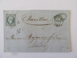 Lettre Bayonne Vers Aurillac - Timbre Napoléon III YT N°14A Bleu Laiteux - Ob. PC 295 - 1854 - Marcophilie (Lettres)