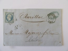 Lettre Bayonne Vers Aurillac - Timbre Napoléon III YT N°14A Bleu Laiteux - Ob. PC 295 - 1854 - Postmark Collection (Covers)