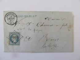 Lettre Grenoble Vers Rives - Timbre Napoléon III YT N°14A Bleu Laiteux - Ob. PC 1452 - 1855 - Postmark Collection (Covers)
