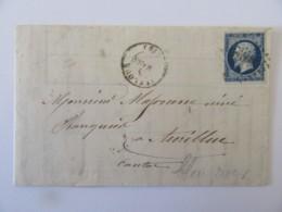 Lettre St Flour Vers Aurillac - Timbre Napoléon III YT N°14A Bleu Noir - Ob. PC 3065 - 1857 - 1849-1876: Classic Period