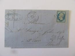 Lettre St Chinian (Hérault) Vers St Fons - Timbre Napoléon III YT N°14B Bleu - Ob. PC 3024 - 1860 - Marcophilie (Lettres)