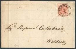 30 Cent. Brun, TB Margé, Obl. Sc VENEZIA 11/3 1855 Sur Lettre  Vers Mantova.  Belle Fraîcheur. - 14316 - Lombardo-Vénétie