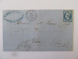 Lettre La Bastide Rouairoux Vers St Pons (Hérault) - Timbre Napoléon III YT N°14B Bleu - 1861 - Postmark Collection (Covers)