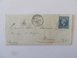 Lettre Soissons Vers Nancy - Timbre Napoléon 20c YT N°22  - Ob GC 3420 + Ambulant Jour Et Nuit - 1863 - Marcofilia (sobres)