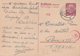 Entier Avec T. à D. De KONIGSBERG ( Camp De Prisonniers De Guerre) TTB. - Guerre De 1939-45