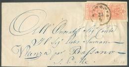 15 Cent. Vermillons (paire) , TB Margé, Obl. Sc BRESCIA 23/6 1853 Sur Lettre  Vers Bassano.  Belle Fraîcheur. - 14317 - Lombardo-Vénétie