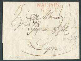 Précurseur Avec Contenu De NAPOLI 6 SEt. 1816 Vers Lyon + Entailles De Désinfection - 14320 - Naples
