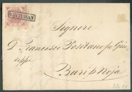 2 Gr. Rose, Marges Maxima, Pl.II, Obl; Griffe Annulato Sur Lettre Du 1er Juillet 1859 Vers Bari - 14321 - Naples