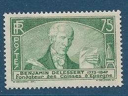 Timbres Neufs *  France, N°303 Yt, Benjamin Delessert, Congrès Des Caisses D'épargne,  Charnière - Nuevos