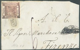 5 Gr. Rose, TB Margé,, Obl; Griffe Annulato Sur Devant De Lettre Vers Firenze + Taxe De 6 Crazie - 14323 - Naples