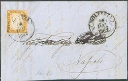 Italie 10 Cent. Bistre, TB Margé,, Obl; Dc MOLFETTA Sur Devant De Lettre Du 26 Déc. 1862 Vers Naples - 14324 - Neapel