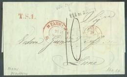 LAC De PARMA 25 Nov. 1849 + Griffes T.S.1. + VIA DI BRONI Vers Lyon, Taxée 10 Cent.  - 14325 - Parme