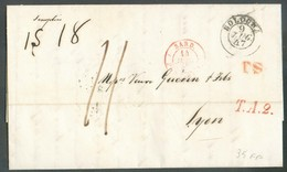 LAC De BOLOGNA 9 Juillet 1847 + Griffes TS + T.A.2. Vers Lyon  - 14326 - Romagne