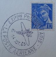 """R1591/36 - TYPE MERCURE Sur CARTON """" IMPRIMES POUR AVEUGLES """" - Cachet EXPOSITION PHILATELIQUE PARIS - POSTE AERIENNE - France"""