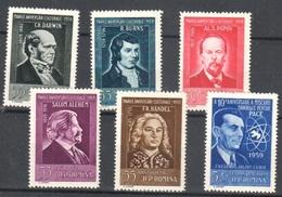 1959 Romania ** Mnh Set 10 Euros Celebrities Haendel Curie Darwin Popow - Ungebraucht