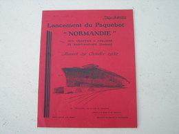 Original Programme  Lancement Du Paquebot Normandie 29 Octobre 1932 - Boats