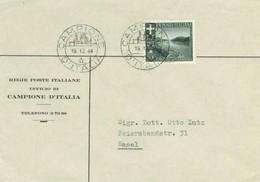 Campione D'Italia 5c Lake View 1944 Campione, D'Italia To Basel, Switzerland.  Corner Card Regie Poste Italiane, U... - 1944-45 République Sociale