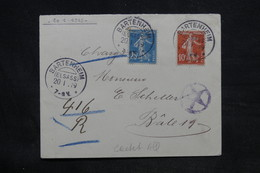 FRANCE - Enveloppe De Bartenheim Pour La Suisse En Recommandé Provisoire En 1919 - L 34209 - Alsace Lorraine