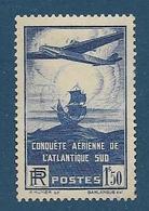 Timbres Neufs *  France, N°320 Yt, 100è Traversée Aérienne De L'atlantique Sud, Aéropostale,  Charnière - Nuevos